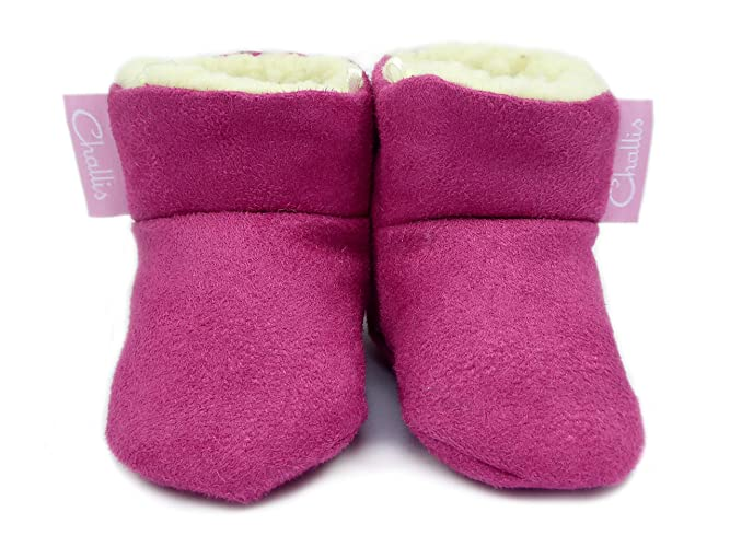 24cc0e8a4cb Raspberry Pink Fleece Lined Faux Suede Baby Boots. Stay On Booties ...