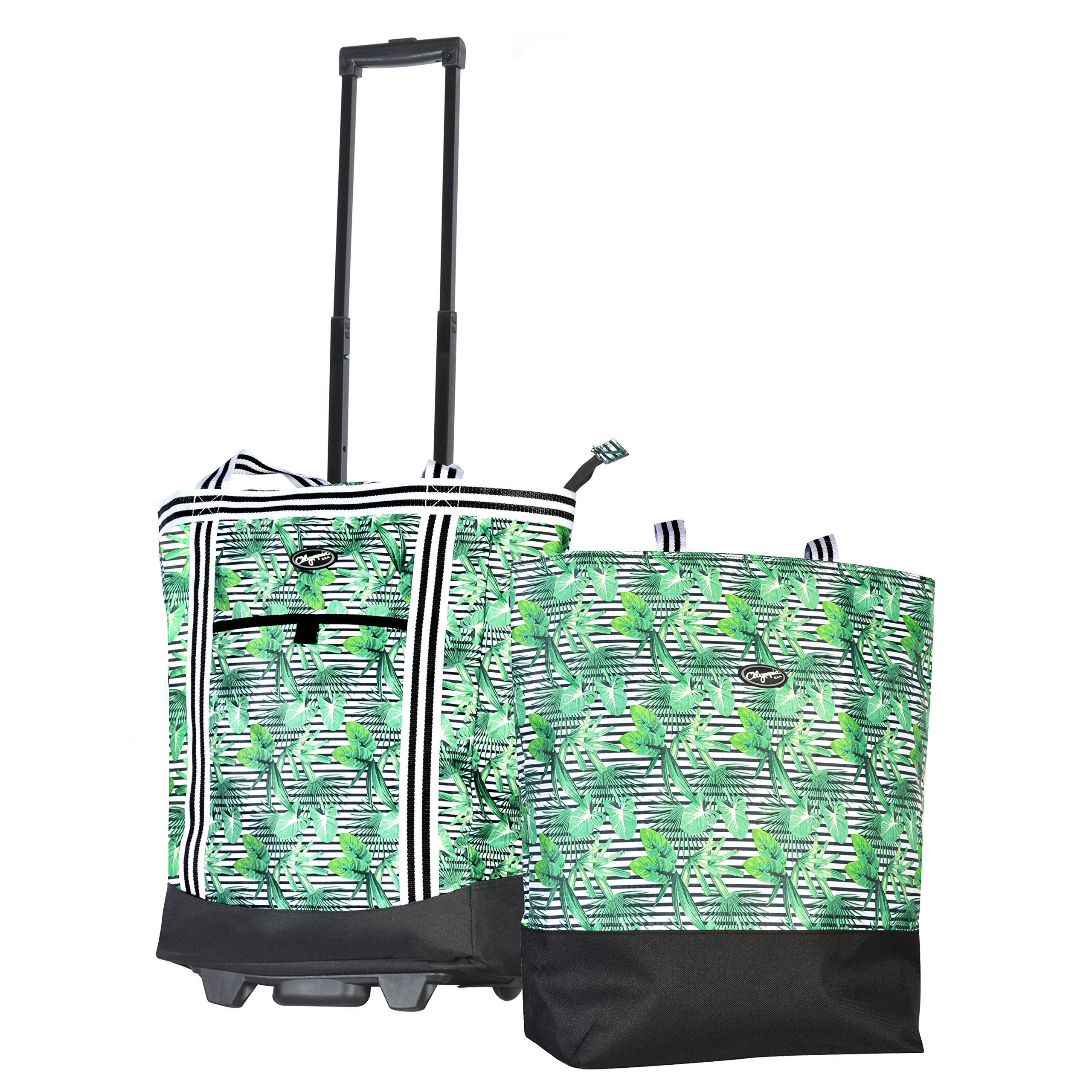 Olympia 2-Piece Rolling Shopper Tote and Cooler Bag, Rain Forest by Olympia (Image #1)