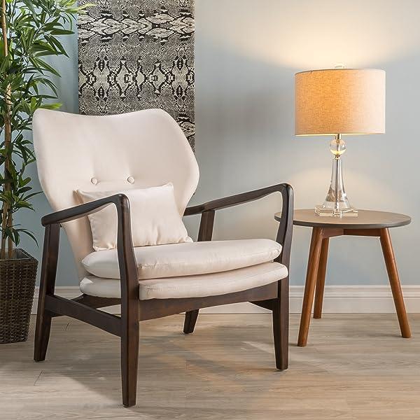 Teague Dark Espresso Wood with Beige Fabric Club Chair