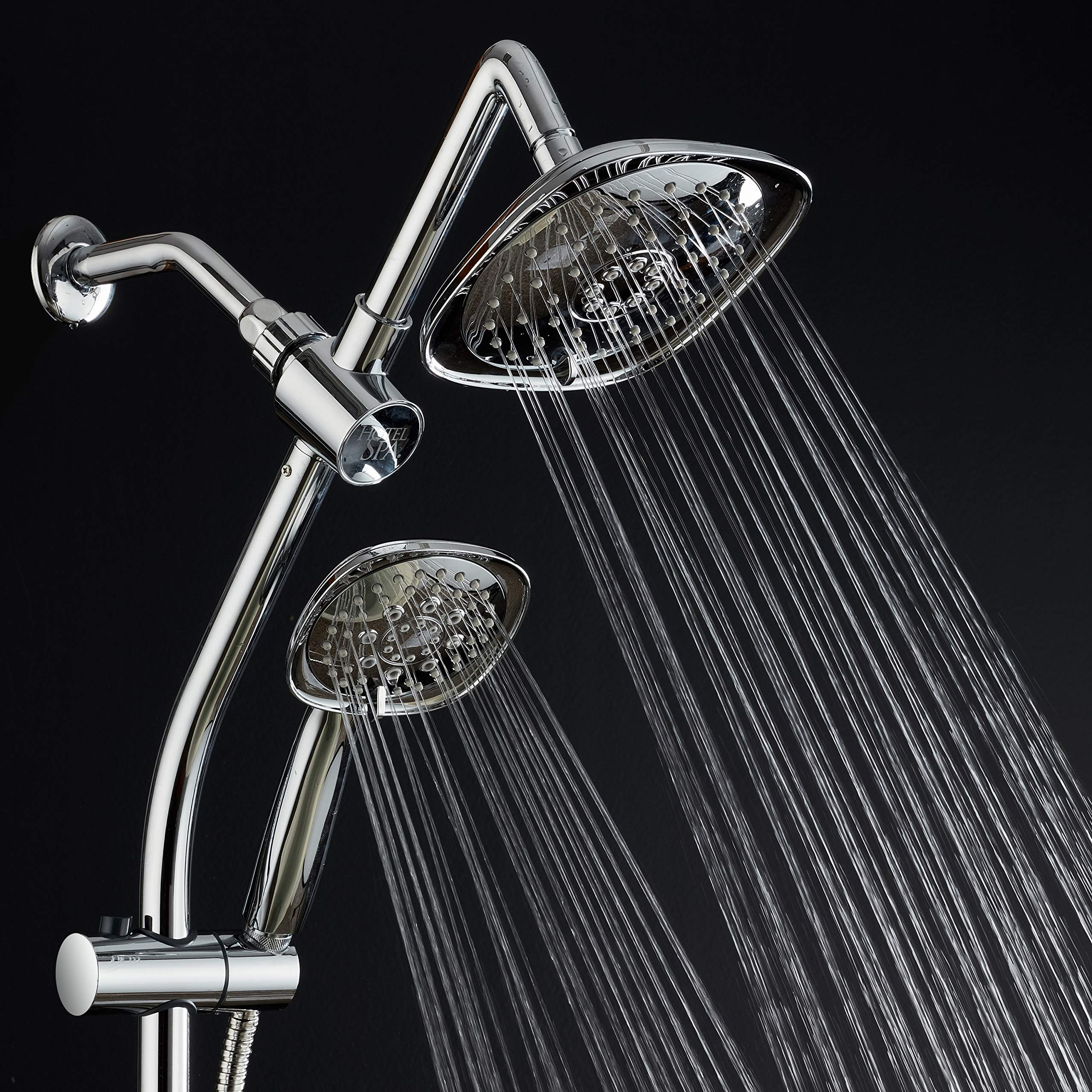 Spa Station 34'' Adjustable Drill-Free Slide Bar with 48-setting Showerhead Combo & Height Extension Arm / 3-way Square Rain & Handheld Shower Head/Low Reach Diverter/Stainless Steel Hose/Chrome by Hotel Spa (Image #5)