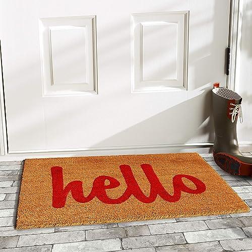 Calloway Mills 100422436NRS Script Hello Doormat, 24 x 39 , Natural Red