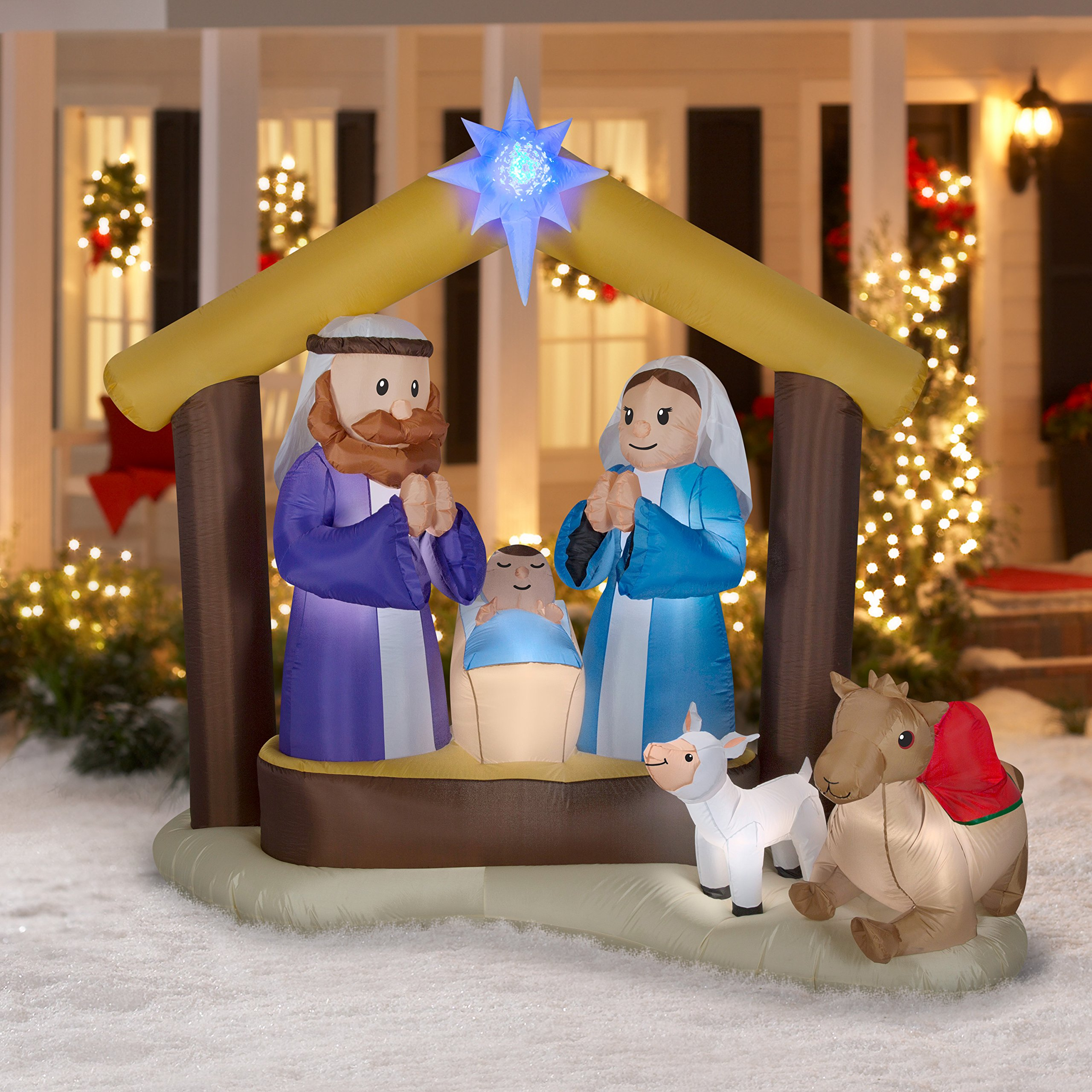 LightShow Airblown Inflatable Kaleidoscope Nativity Scene Outdoor Decoration by Gemmy (Image #3)
