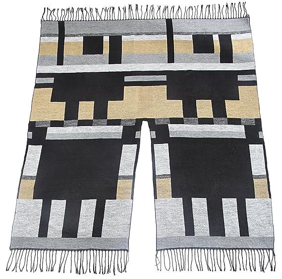 c7fa5266cac Subke poncho femme cape cardigan tricot manteau écharpe franges noir gris à  motifs  Amazon.fr  Vêtements et accessoires