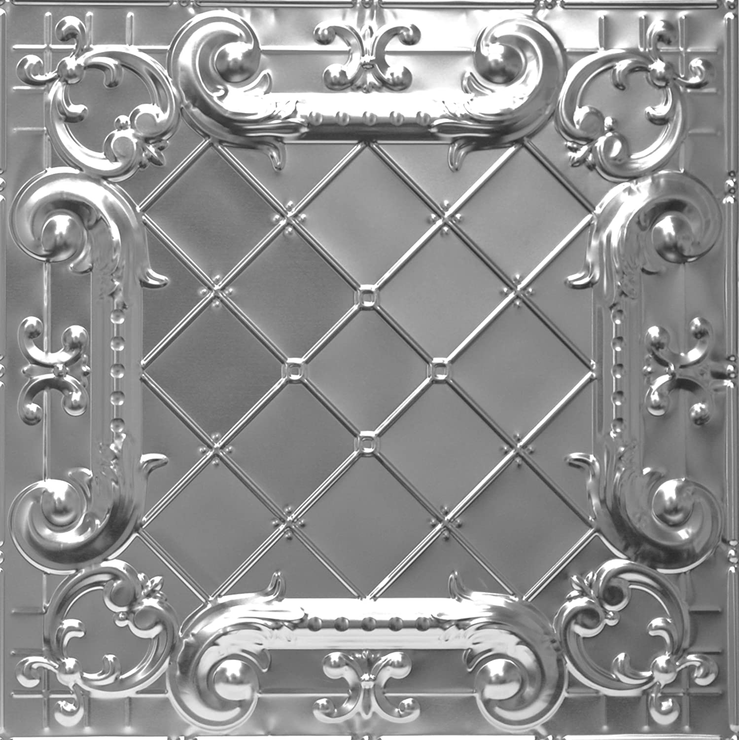 Shanko ST502LIG Pattern 502 Authentic Pressed Metal Lay-In Grid Ceiling Tiles, 20 sq. ft, Unfinished Steel Shanker Industries