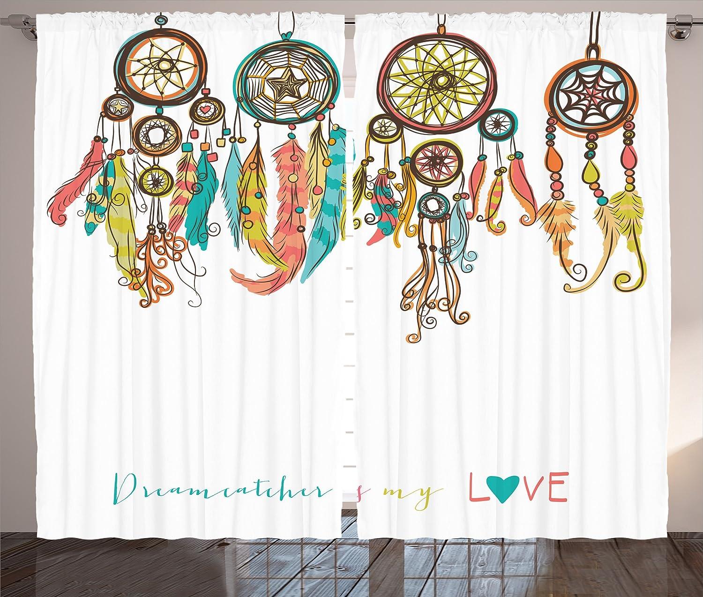 "Ambesonne Primitive Curtains, Colorful Dreamcatchers Design Elements Print, Living Room Bedroom Window Drapes 2 Panel Set, 108"" X 84"", White Coral"
