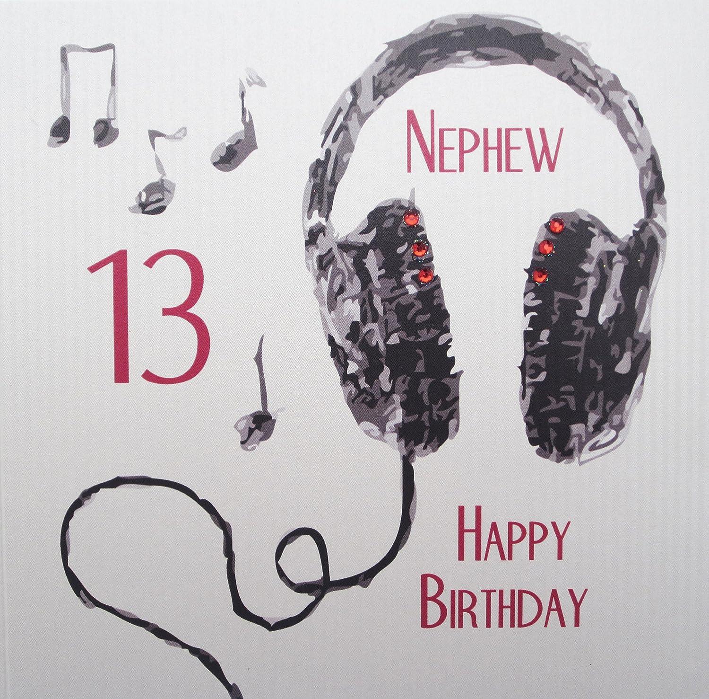 "white cotton cards Handmade ""Nephew 13 Happy Birthday"" Headphones"
