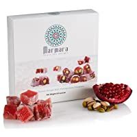 Turkish Delights with Pomegranate Pistachio Authentic Hand Made Gourmet Sweet Candy Box Dessert 8.8 ounce 12-16 Large 2 inch Confectionery Treats by Marmara