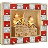 WeRChristmas Pre-Lit Wooden Church Scene Advent Calendar Christmas Decoration, 29 cm - Multi-Colour