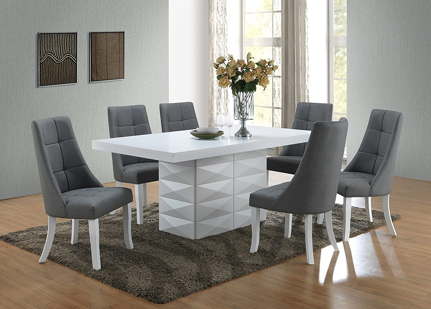 Kings Brand Furniture - Milan 7 Piece White Modern Rectangle Dinette Dining  Room Table & 6 Grey Vinyl Chairs