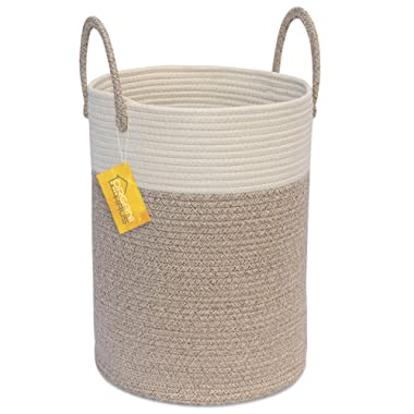 OrganiHaus Cotton Rope Basket in Brown and Off-White | Tall Blanket Storage Basket with Long Handles | Decorative Hamper Basket | Soft Toy Storage Bin | Perfect as Laundry or Clothes Hamper