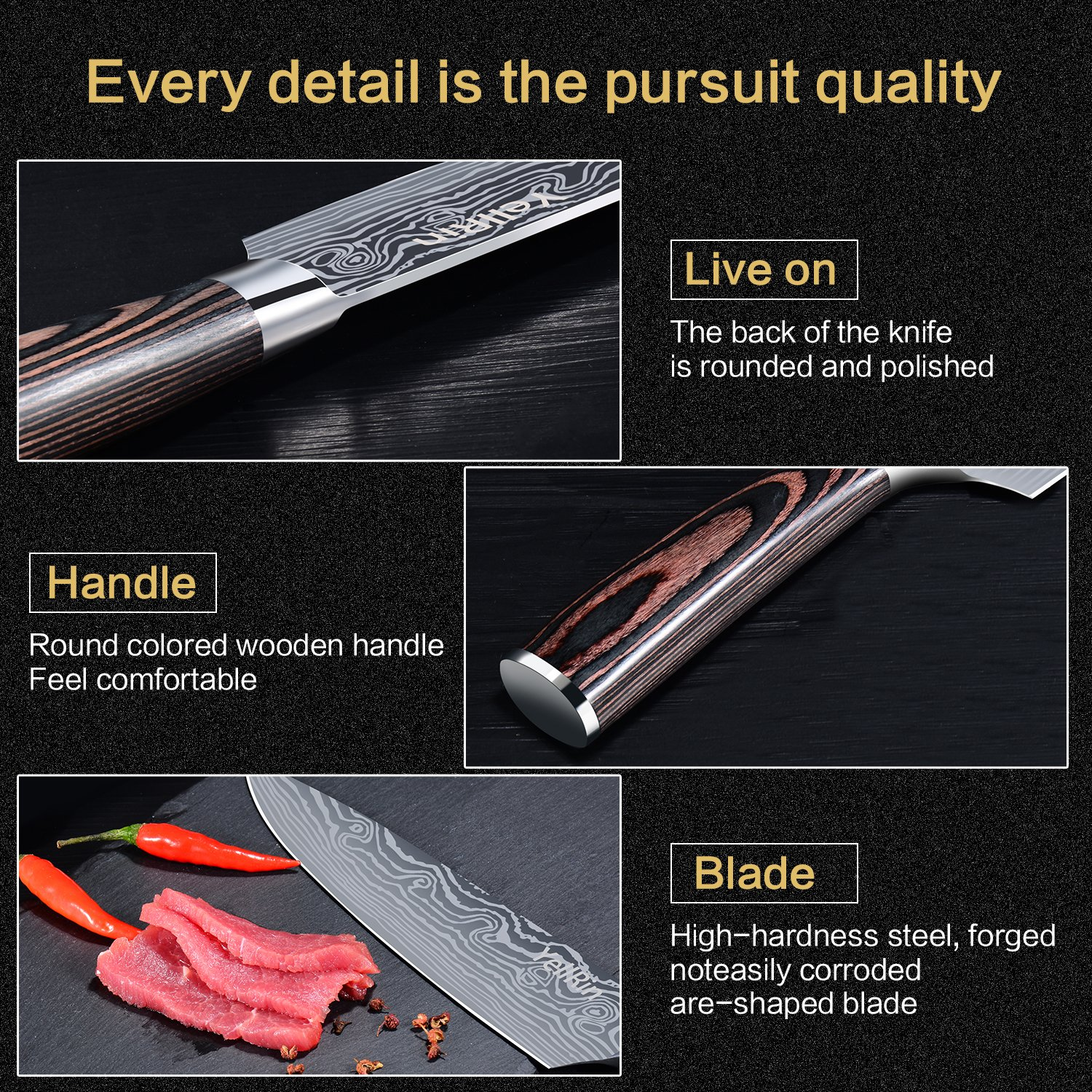 Chef Knife, Kitchen Knife 8 inches Stainless Steel Sharp Chefs Knife with Ergonomics Handle High Carbon Professional Chef\'s Knife for Restaurant and Home