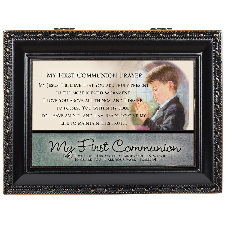 Cottage Garden My First Communion Distressed Black Music Box//Jewelry Box Plays Hallelujah