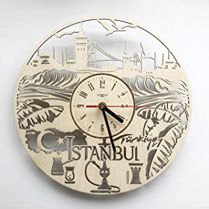 7ArtsStudio Istanbul Turkey Wall Clock Made of Wood - Perfect and Beautifully Cut - Decorate Your Home with Modern Art - Bedroom Kitchen Living Room Decor - Unique Gift for Him and Her - Size 12 Inch