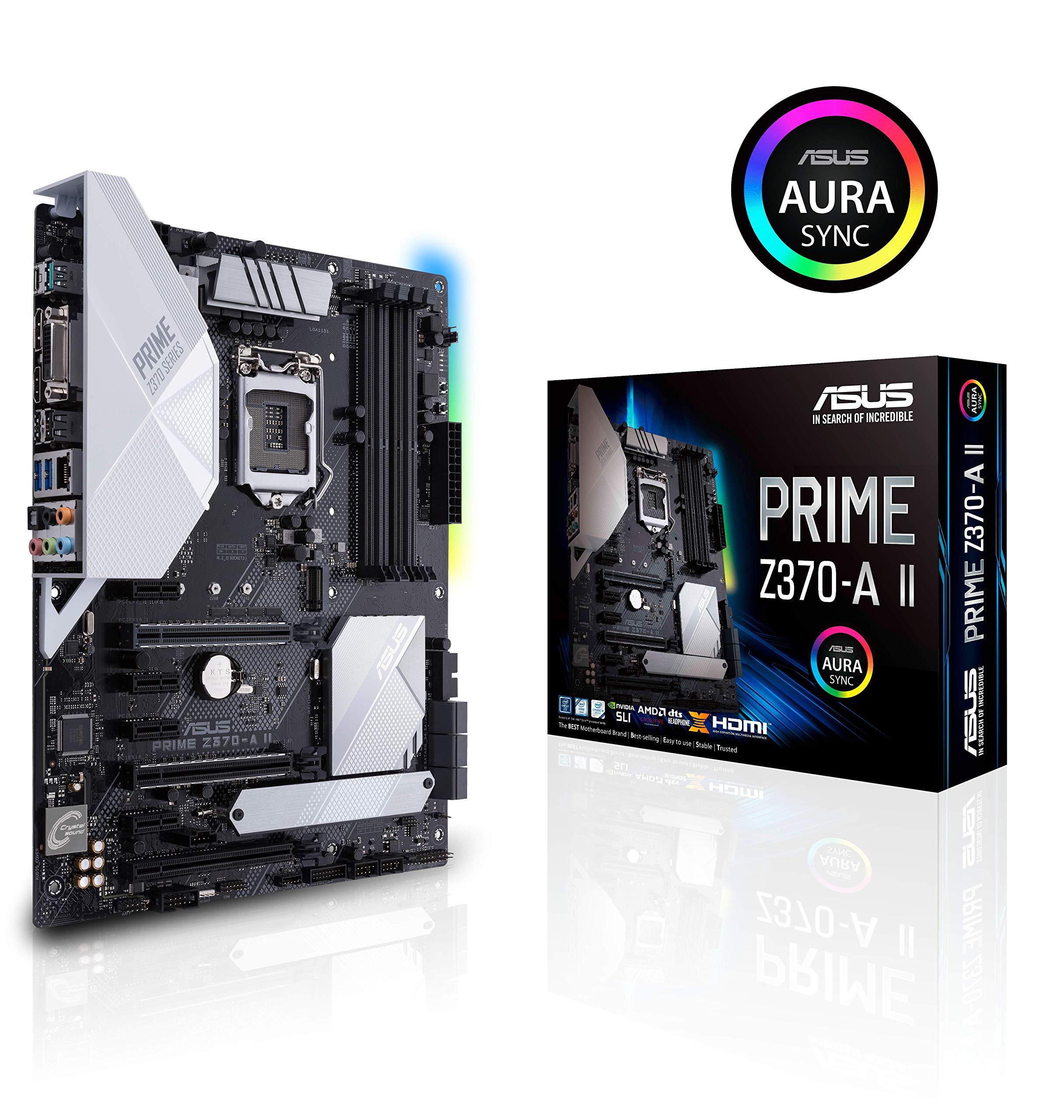 ASUS Prime Z370-A II (Intel 9th Gen) DDR4 DP HDMI DVI M.2 USB 3.1 Z370 II ATX Motherboard Gigabit LAN and USB 3.1 by ASUS