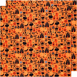 Halloween Fabric 1 Yard Ghost Pumpkin Cats Pattern Halloween Orange Printed Fabric for Sewing Quilting Apparel Crafts Home Decor Supplies (2 Pieces)