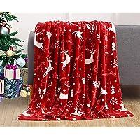 Elegant Comfort Luxury Velvet Super Soft Christmas Prints Fleece Blanket-Holiday Theme Home Décor Fuzzy Warm and Cozy…