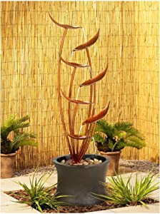 "Universal Lighting and Decor Tiered Copper Leaves Rustic Modern Outdoor Floor Water Fountain 41"" High Cascading for Yard Garden Patio Deck Home - John Timberland"