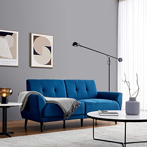 71in Fabric Sofa Couch Blue,JULYFOX Mid Century Modern Living Room Couch Polyester Fabric 700lb Heavy Duty 9 inch Ultra Thick Comfy Cushion Seat