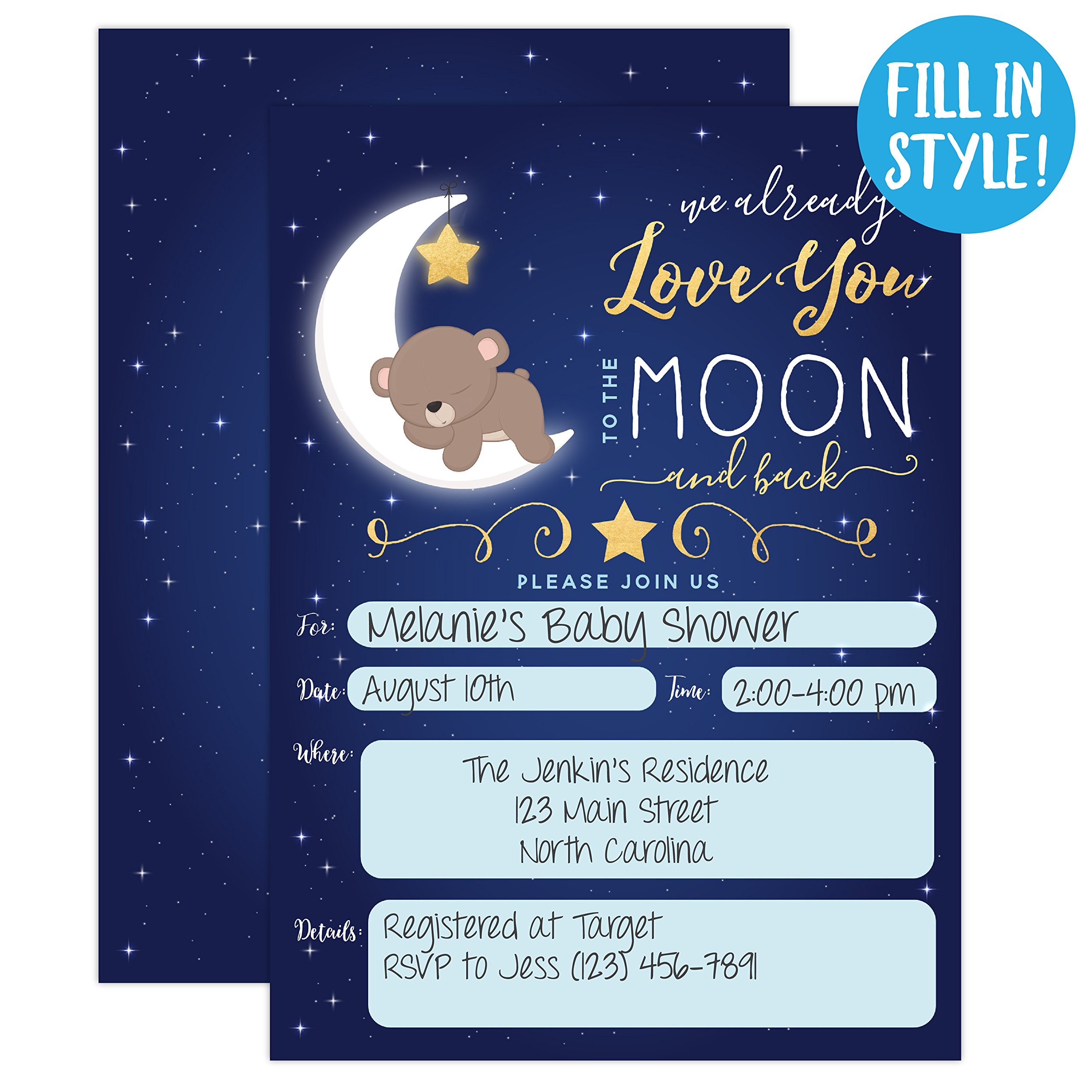 Boy Baby Shower Invitation, Love You To the Moon and back Baby Shower Invitation, Bear Baby Shower invite, Twinkle Twinkle Little Sar, 20 Fill in Invitations and Envelopes by Your Main Event Prints (Image #2)