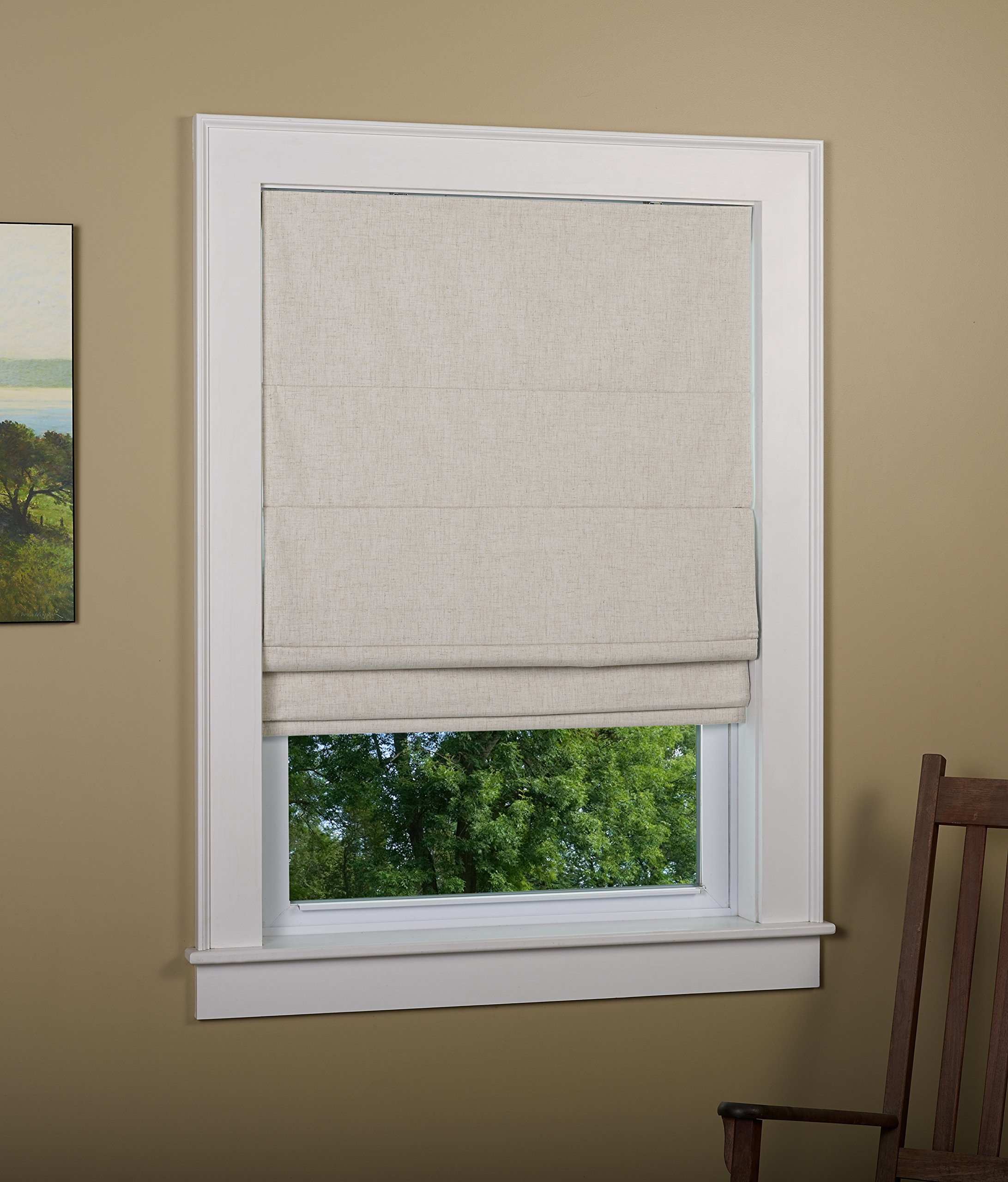Green Mountain Vista Thermal Blackout Cordless Roman Shade, 30 by 63-Inch, Linen