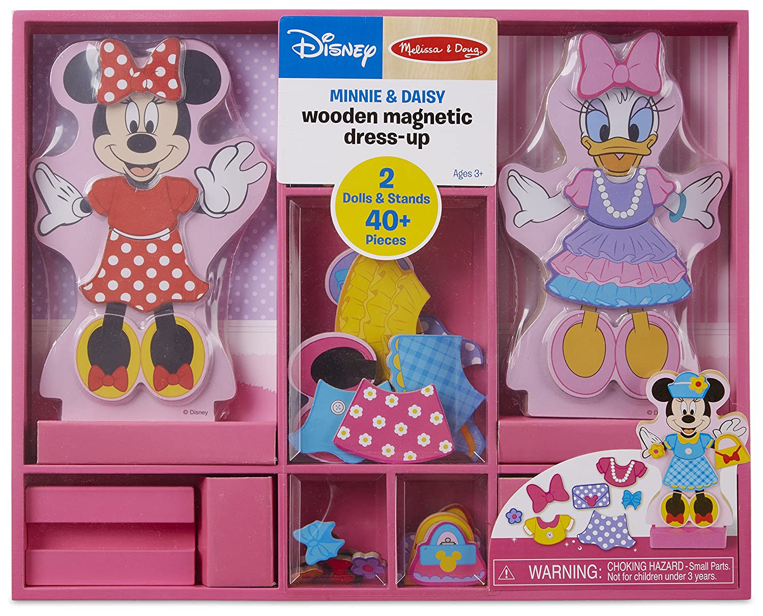 Melissa & Doug Disney Minnie Mouse and Daisy Duck Magnetic Dress-Up Wooden Doll (Pretend Play Set, Interchangeable Pieces, Display Stands, 45+ Pieces)