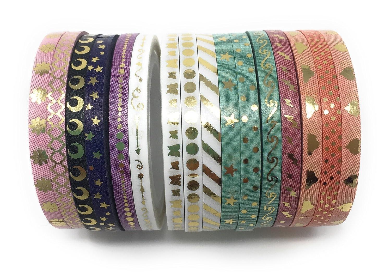 nubes tama/ño de 3 mm de ancho y 5 m de largo etc. puntitos Rollos de cinta washi dorada en color pastel y con dise/ños de estrellas