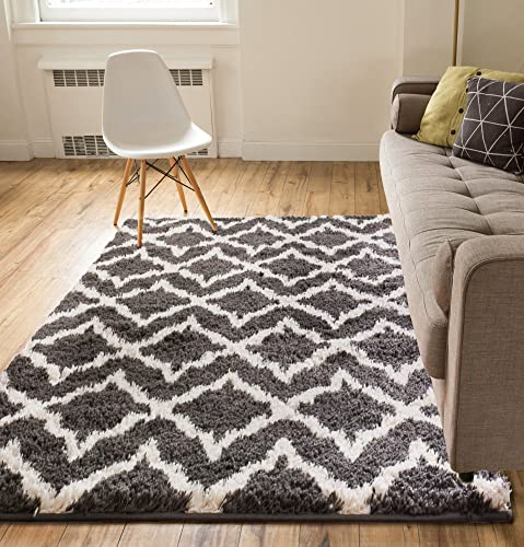 Lattice Links Modern Geometric Trellis 3×5 3 3 x 5 3 Area Rug Grey Ivory Plush Shag Easy Care Thick Soft Plush Living Room