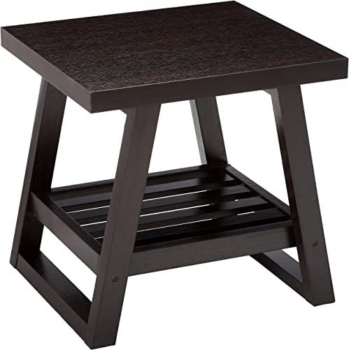 End Table with Slatted Bottom Shelf Cappuccino