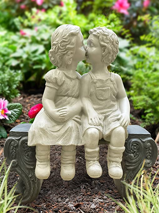 Amazon.com : Adorable Kissing Boy And Girl On The Bench Roman Style  Sculpture Indoor Outdoor Garden Decor Accent : Garden U0026 Outdoor