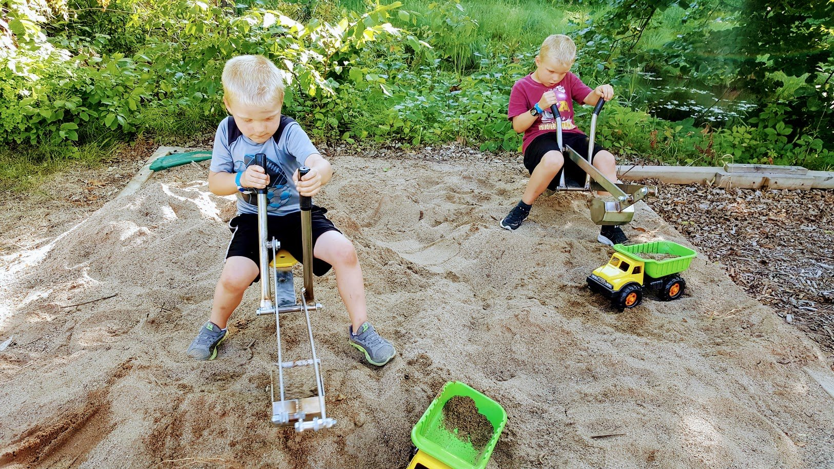 Commercial Ride On Playground Sand Digger Backhoe -Sandbox Toy Excavator -USA Made From Stainless Steel.