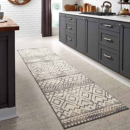 Maples Rugs Abstract Diamond Modern Distressed Non Slip Runner Rug For Hallway Entry Way Floor Carpet Made in USA , 2 6 x 10, Neutral