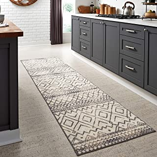 product image for Maples Rugs Abstract Diamond Modern Distressed Non Slip Runner Rug For Hallway Entry Way Floor Carpet [Made in USA], 2'6 x 10, Neutral