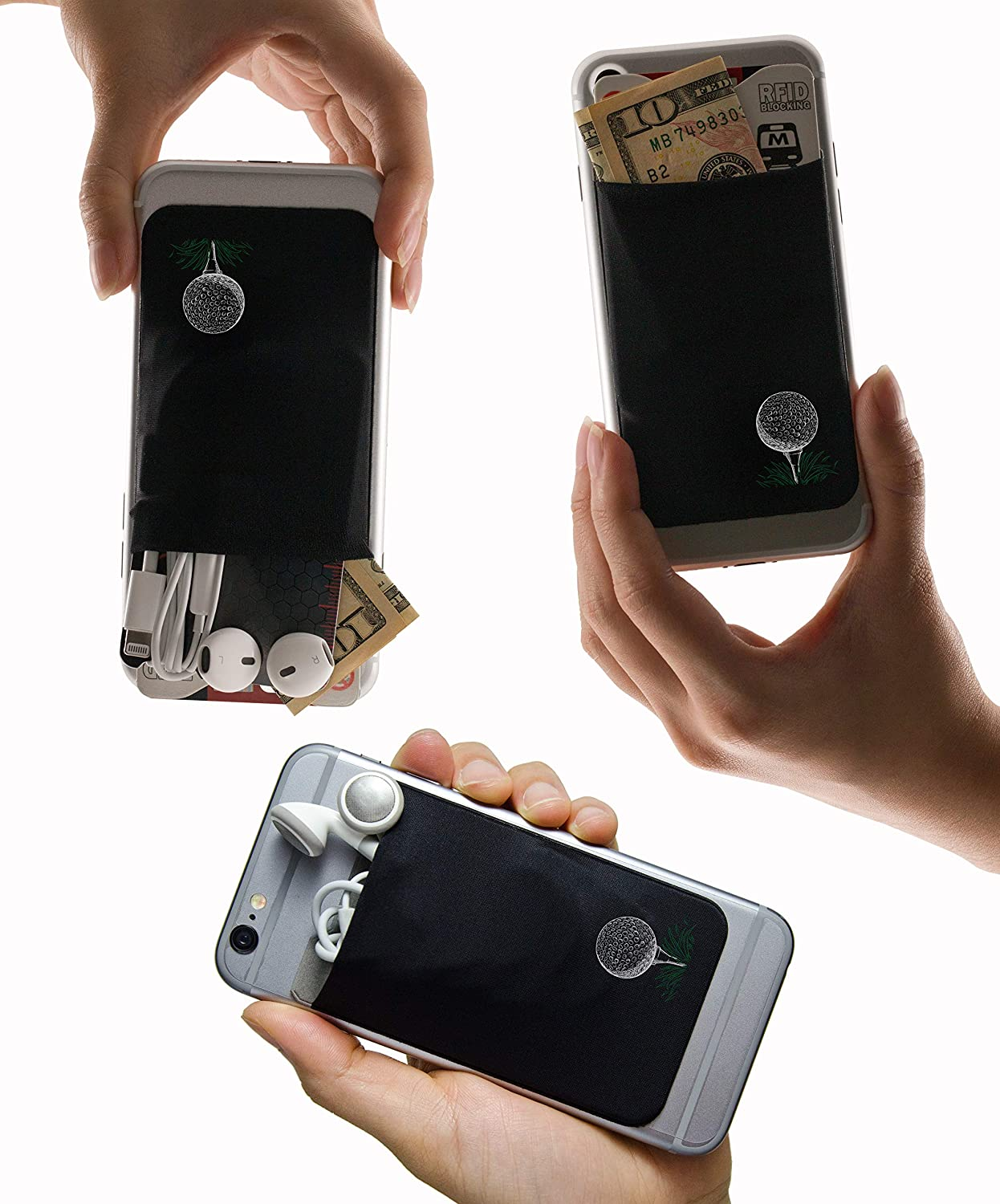 a Stick-On Stretchy Lycra Card Holder Universally fits Most Cell Phones /& Cases Dog Paws Xtra Tall Pocket Totally Covers Credit Cards /& Cash Gecko Adhesive Phone Wallet /& RFID Blocking Sleeve