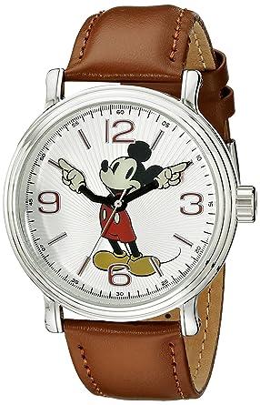Disney Mens W001852 Mickey Mouse Analog Display Analog Quartz Brown Leather Watch
