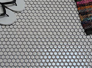 1//4 Sheet Sample Porcelain Mosaic Tile Sheet Barcelona Hexagon Matte Gray
