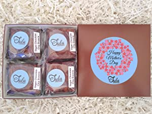 Tula Bakeshoppe Vegan, Non-Dairy Mothers Day Flowers Chocolate Chip Brownies Food Gift Box, Gourmet Sweets Treat for Employers / Nana / Dog Mom / Nurses, Wrapped Individually (4 Bars & Card)