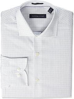 01400bb7 Tommy Hilfiger Men's Non Iron Regular Fit Check Spread Collar Dress Shirt