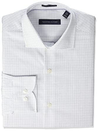 2032bea4 Tommy Hilfiger Men's Non Iron Regular Fit Check Spread Collar Dress Shirt  at Amazon Men's Clothing store: