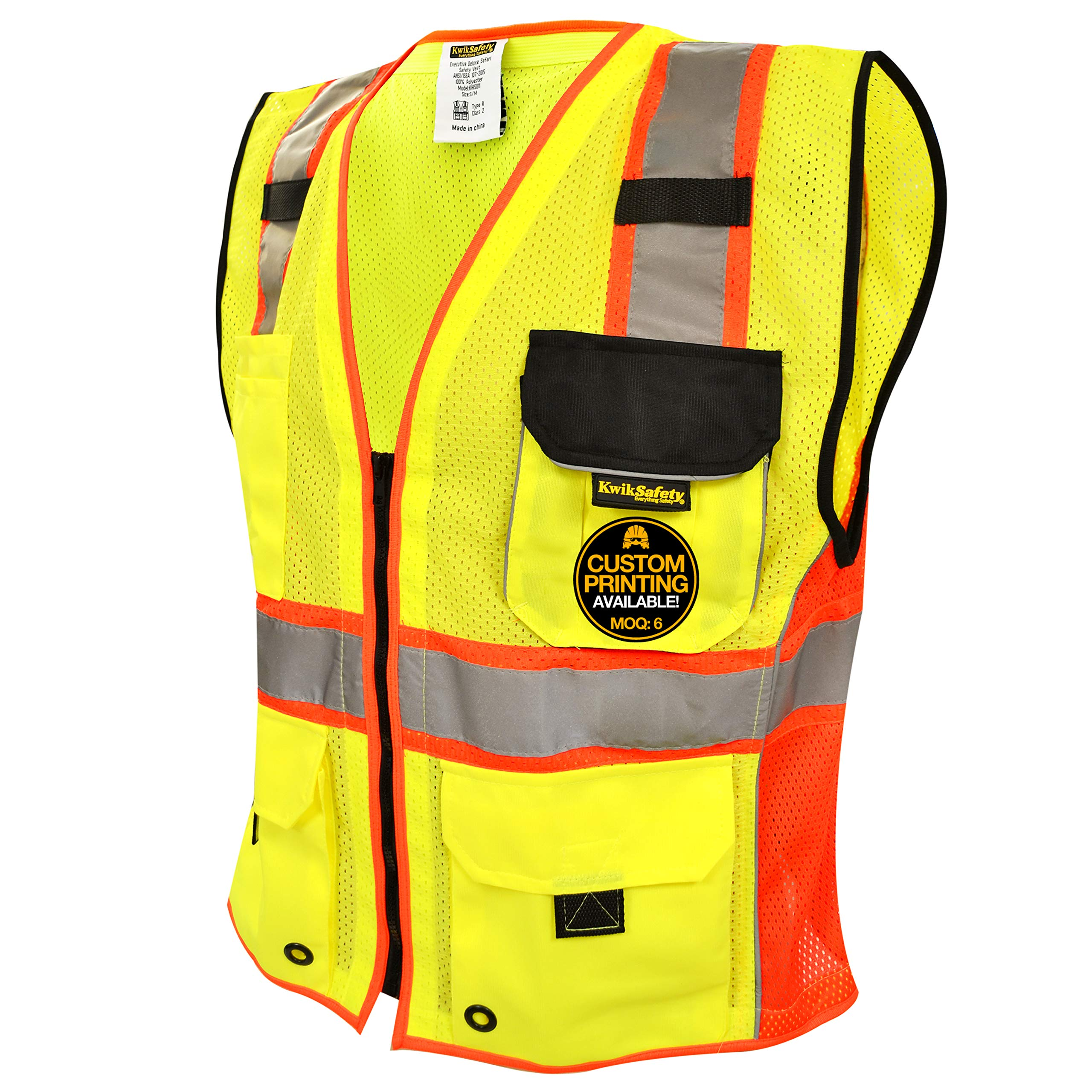 KwikSafety SUPREME | Class 2 Safety Vest | 360° High Visibility Reflective ANSI Compliant Work Wear | Hi Vis Breathable Mesh 7 Pockets | Men Women Regular to Over Sized Fit | Yellow Red Trim L/XL