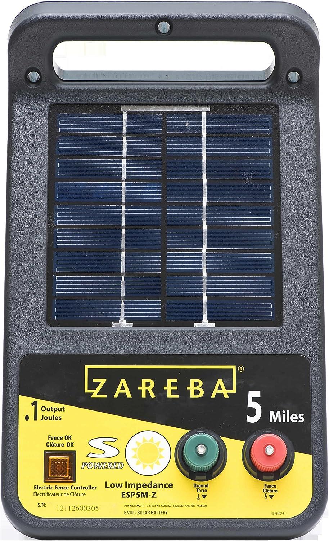 Zareba ESP5M-Z 5-Mile Solar Low Impedance Electric Fence Charger, Black