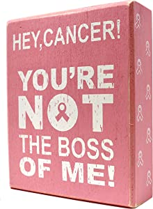 JennyGems - Hey, Cancer! You're Not The Boss of Me! (Pink) - Cancer Survivor and Awareness - Gifts for Cancer Patients Series, Cancer Gifts