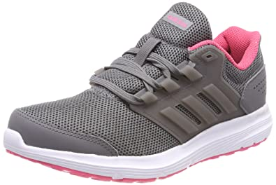 adidas Womens Galaxy 4 Running Shoes, Grey Four/Real Pink, 4 UK 36