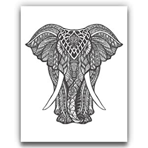 Tribal Mandala Elephant Wall Art | Intricate Black and White Wall Decor - 11x14 UNFRAMED Bohemian, African Elephant Art Print
