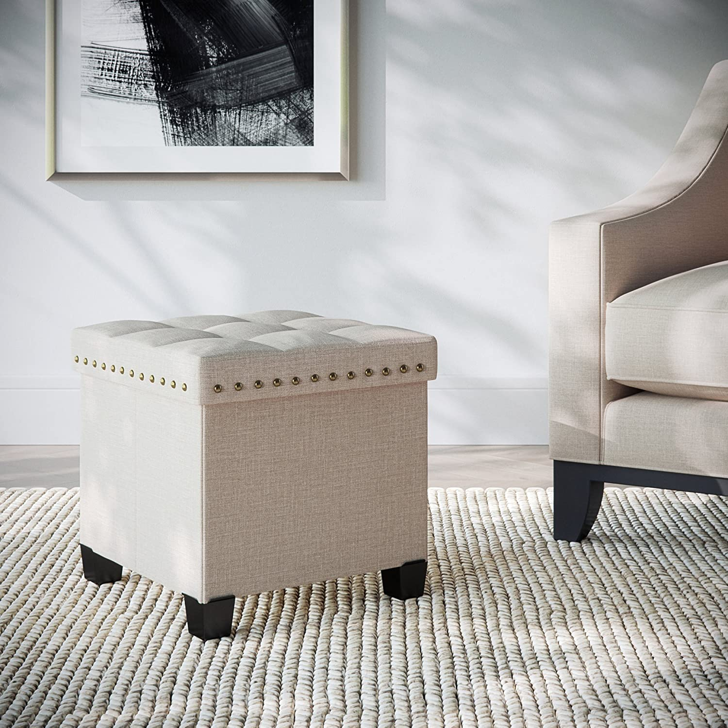 Nathan James 71103 Payton Foldable Storage Ottoman Footrest and Seat Cube, Beige