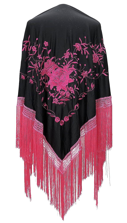 La Se/ñorita Foulard cintura chale manton de manila Flamenco di danza nero con fiori rosa Large