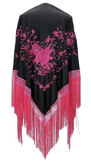 f2a596f57154 La Senorita Spanish Flamenco Dance Shawl Large Black Pink Flowers and  Fringes: Amazon.co.uk: Clothing