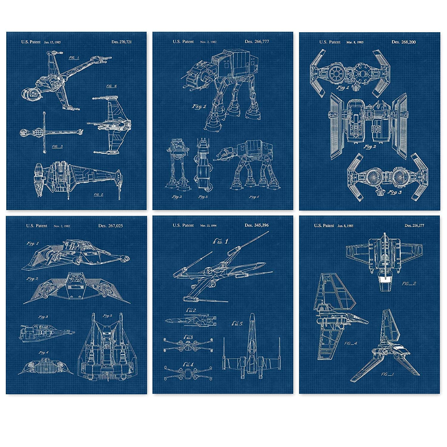 Vintage Star Wars Vessels Vehicles Patent Poster Prints, Set of 6 (8x10) Unframed Photos, Wall Art Decor Gifts Under 25 for Home, Office, Man Cave, College Student, Teacher, Comic-Con & Movies Fan