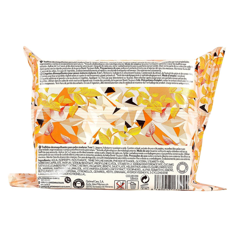 BONTE toallitas desmaquillantes para pieles maduras 3 en 1 envase 25 ud: Amazon.es: Belleza