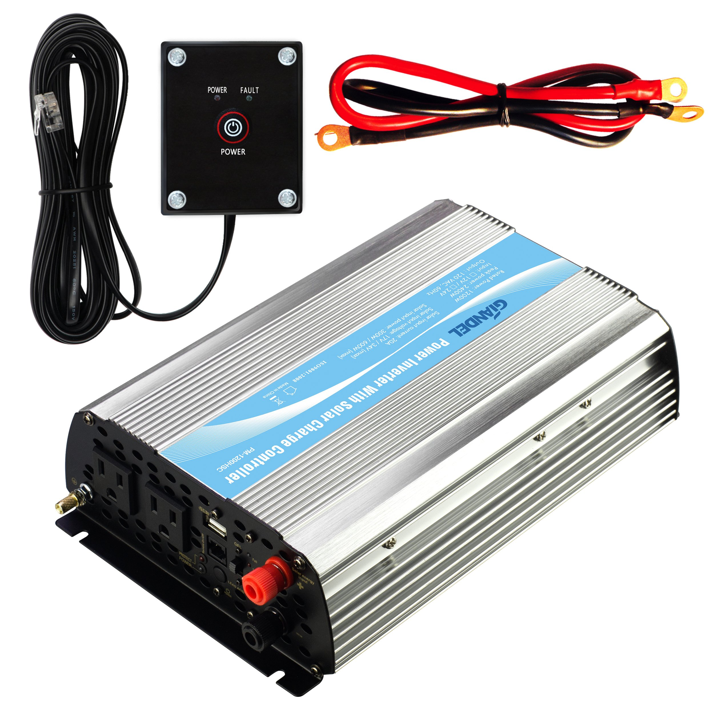 Giandel 1000Watt Power Inverter 12V DC to 110V 120V AC 20A Solar Charge Controller Remote Controller Dual AC Outlets & 2.4A USB Port Big Shell by GIANDEL