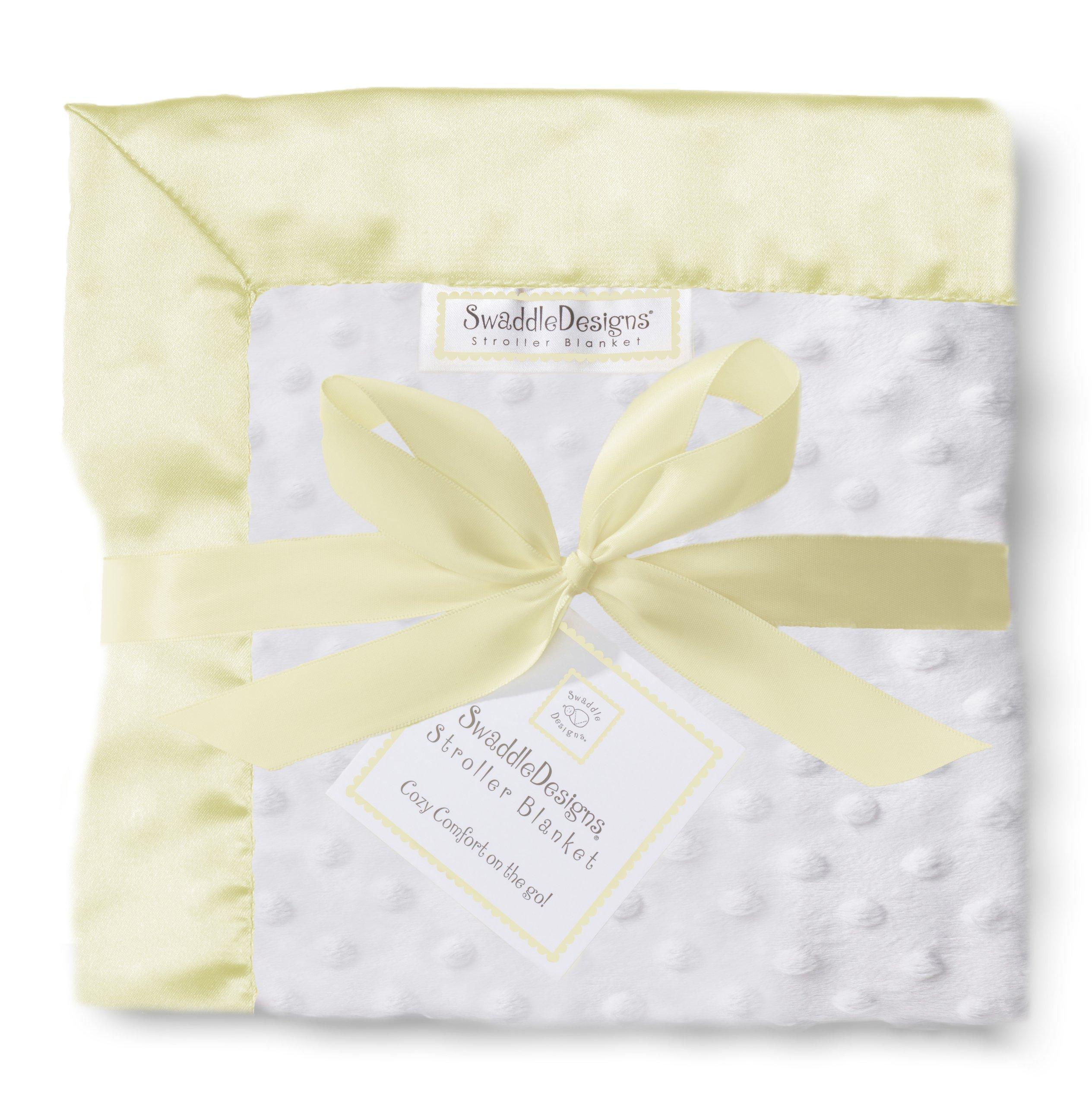 SwaddleDesigns Stroller Blanket, Cozy Microfleece, Plush Dots with Pastel Yellow Satin Trim